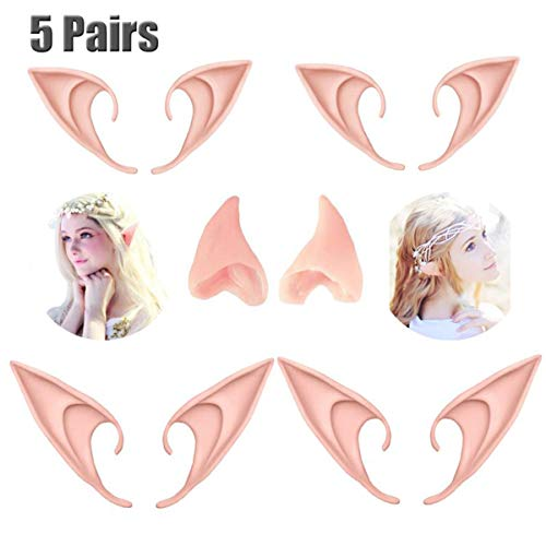 Pair Dress Up Halloween (CAhomer 5 Pairs Latex Elf Ear Pixie Dress Up Costume Soft Pointed Goblin Ears Cosplay Halloween Party Props Elven Vampire Fairy)