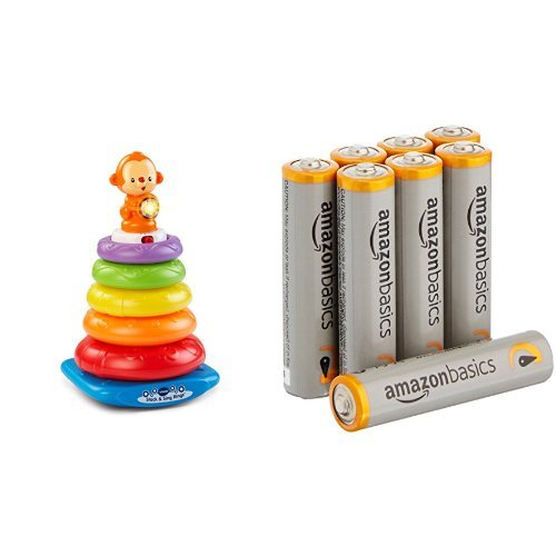 VTech Stack and Sing Rings with Amazon Basics AAA Batteries Bundle