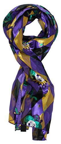 Ted and Jack - Mardi Gras Pattern Silk Feel Scarf in Purple and Gold (Mardi Gras Fashion)