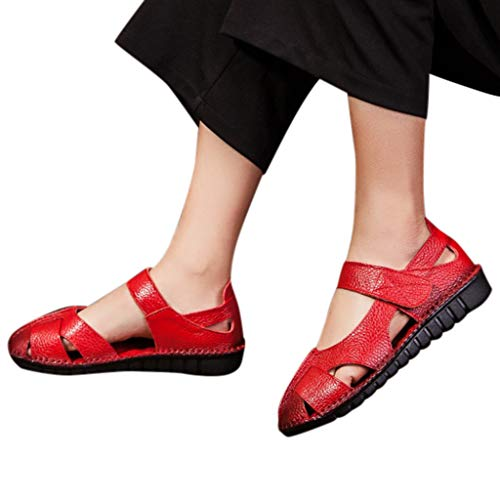 (Women's Retro Cutout Ankle Strap Flat Sandals Soft Faux Leather Buckle Hollow Sandals Flip Flops Beach Casual Walking Shoes (Red, US:8))