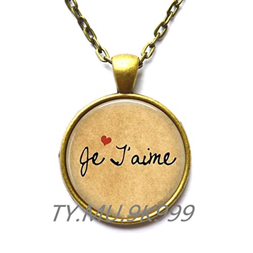 Moon Pendant,Je T'aime Necklace Pendant - French Love Quote - I love you Jewelry - French Language -
