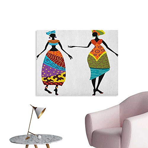 Anzhutwelve African Woman Art Decor Decals Stickers Tribal Ladies in Traditional Costume Silhouettes Ethnicity Vintage Display Space Poster Multicolor W28 xL20]()