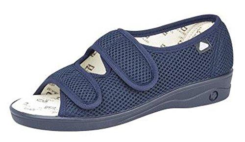 Celia Ruiz Womens Canvas Extra Wide EEE Fit Velcro Casual Sandals Shoes Navy Blue (6 UK) 73CKZ9
