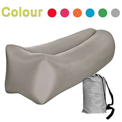 Airmoon Inflatable Air Sofa Chair Portable Lounger Couch Air Hammock, Pool Float Lounge Chair Air Lounger for Indoor or Outdoor Use (Gray) by Airmoon