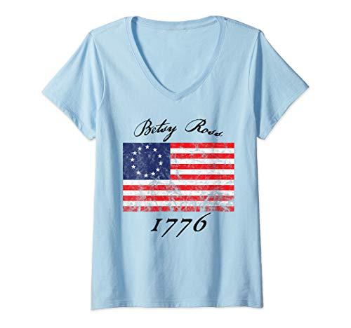 Womens Betsy Ross Flag 1776 Vintage Revolutionary flag V-Neck T-Shirt