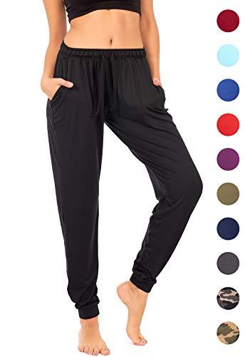 - DEAR SPARKLE Jogger with Pockets for Women Drawstring Lightweight Sweats Yoga Lounge Pants + Plus Size (P7) (Black, Medium)