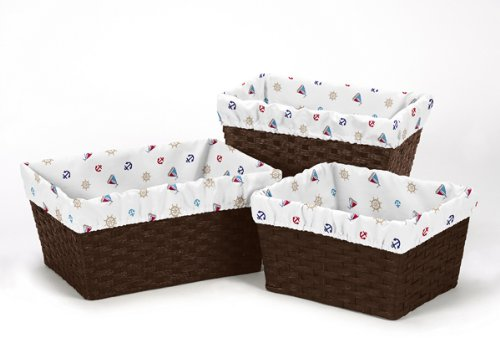 Set of 3 One Size Fits Most Basket Liners for Nautical Night