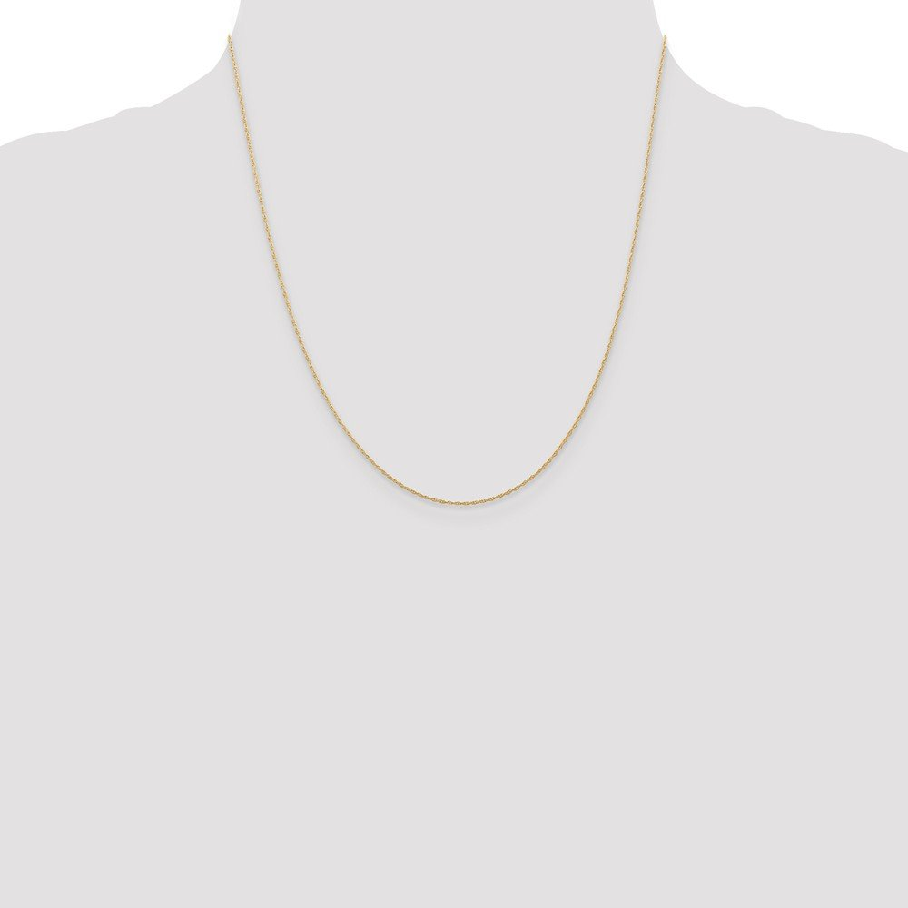 14k Yellow Gold 0.5 mm Cable Rope Chain Necklace