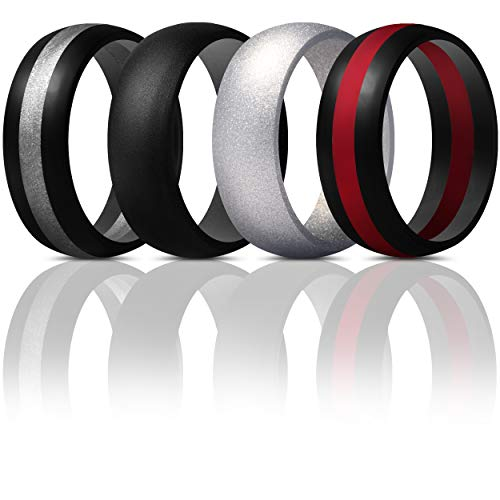ThunderFit Mens Silicone Rings Wedding Bands - 4 Pack Classic & Middle Line (Silver, Black Middle Silver, Black Middle Red, Black, 9.5-10 (19.8mm)) (Red And Black Wedding Bands For Men)