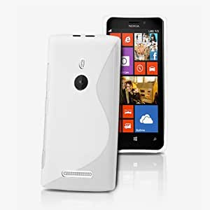 White S Line Slim Wave Gel Case Cover & Screen Protector For Nokia Lumia 925 By TypeandColor