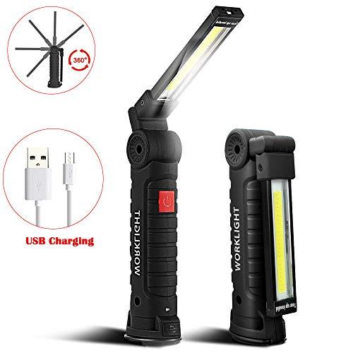 SunTop USB Recargable LED COB Lámpara de Trabajo Linterna de Mano – COB LED Linterna Luces de inspección Recargable…