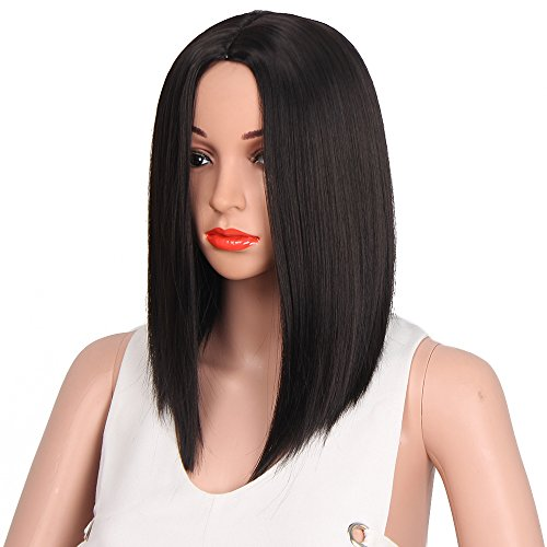 AISI HAIR Straight Black Synthetic Wig for Women Shoulder Length Hair Heat resistant Fiber Natural Hair Full Wig Middle Part Wigs for Black Women ( black (Shoulder Length Hair)