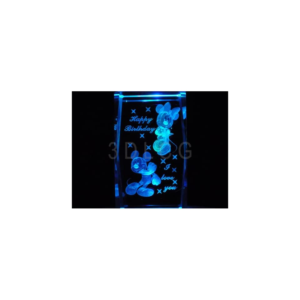Disney Mickey & Minnie Mouse Happy Birthday 3D Laser Etched Crystal