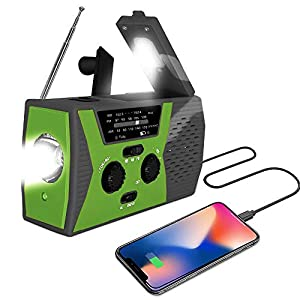 2020 Upgraded Version AOXLANT Portable Radio, Weather Radio with LED Flashlight, SOS Alarm Solar Hand Crank Emergency Radio, 2000mAh Power Bank for Smart Phone, AM/FM NOAA Radio, 6 LEDs Reading Lamp