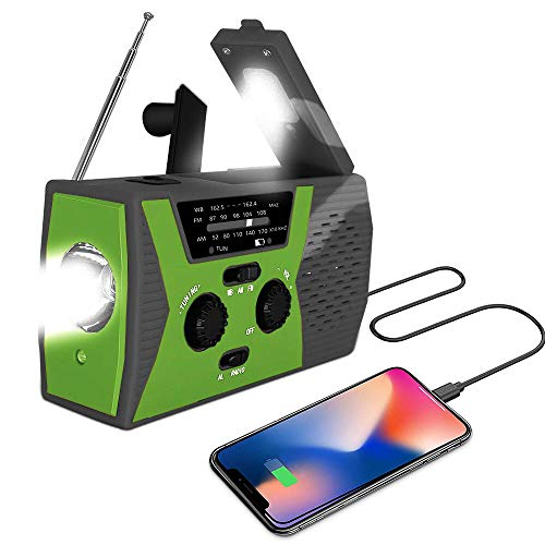 [2019 Upgraded Version] AOXLANT Portable Radio, Weather Radio with LED Flashlight, SOS Alarm Solar Hand Crank Emergency Radio, 2000mAh Power Bank for Smart Phone, AM/FM NOAA Radio, 6 LEDs Reading Lamp