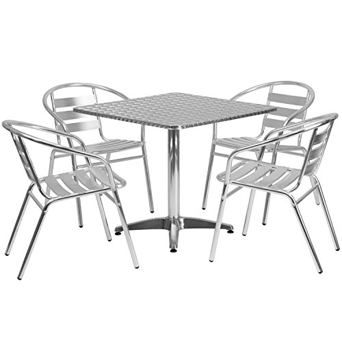 Flash Furniture 31.5'' Square Aluminum Indoor-Outdoor Table Set with 4 Slat Back Chairs (Patio Steel Furniture)