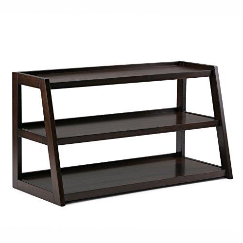 Simpli Home Sawhorse Solid Wood TV Media Stand, Dark Chestnut Brown