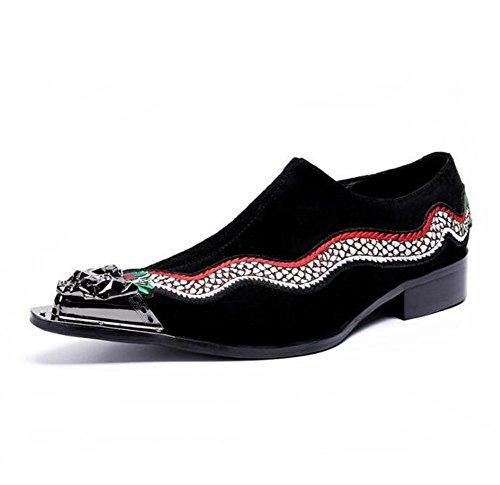 Dj Tamaño Terciopelo Eu39 Mocasines Hombre Espectáculo Zapatos Nanxie Eu43 Metal De Acento Bordado Puntera 45 A Club Negocio Nocturno Irlandés Formal 38 xaqZnfwFn