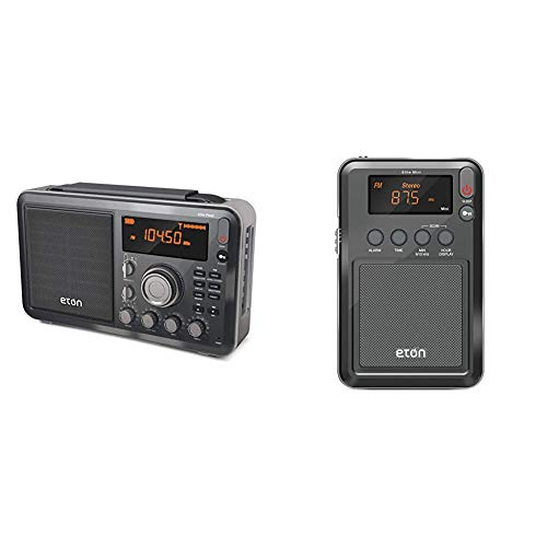Eton Elite Field AM/FM/Shortwave Desktop Radio with Bluetooth & Elite Mini Compact AM/FM/Shortwave Radio (Graphics/Markings/Color/Packaging May Vary)