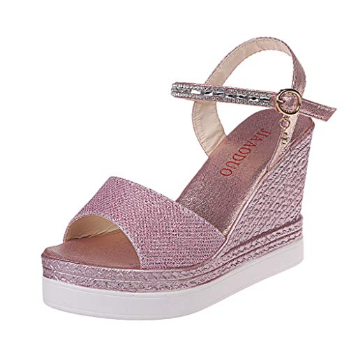 (Save 15% BBesty Women's Summer Fashion Wedges Buckle Causal Shoes Bohemian Cool Super High Shoes Sandals Pink)