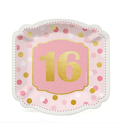 Sweet 16 with Gold Foil - 16th Birthday Party Dessert Plates (16 Count) -