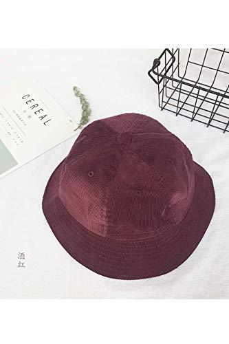 (zheng Shuang Dress up Retro Corduroy Yellow hat Cap Bucket Hats Cute Little Girl Soft Tide (Pinstripe - Burgundy)