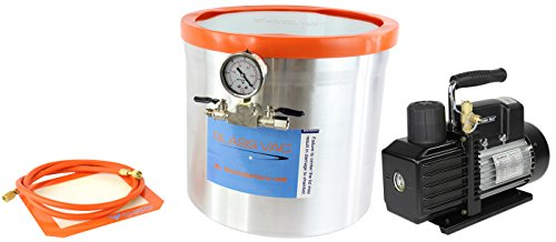 Rotary Motor Vane (GlassVac 5 Gallon Aluminum Vacuum Degassing Chamber and VE115 3 CFM Rotary Vane Single Stage Vacuum Pump Kit- For Wood Stabilizing)