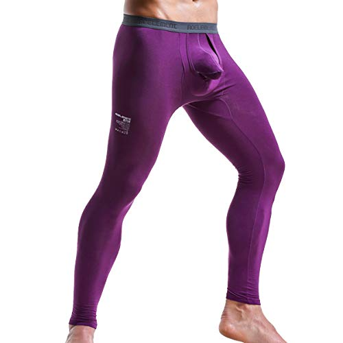 Ouruikia Men's Thermal Underwear Pants Modal Long Johns Tagless Lightweight Thermal Bottoms Separate Pouch (Purple, Small)