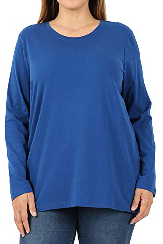 ClothingAve. Plus Size Loose Fit Crew Neck Cotton Blend Essential Long Sleeve T-Shirt Top