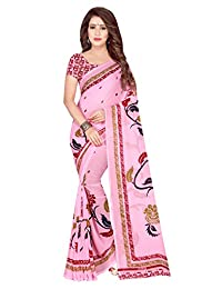 Shonaya Women`s Festival Georgette Printed Saree with Unstitched Blouse Piece (Pink)