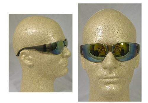 (Starlite Safety Glasses With Mirror Lens Gray Temple Gold Mirror Lens)