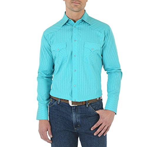 (Wrangler Men's Sport Western Two Pocket Long Sleeve Snap Shirt, turquoise, M)