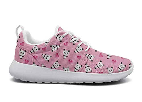 Tasbon Womens Ultra Lightweight Breathable Mesh Athleisure Sneakers White and Black Panda Bear & Heart Pink Walking Shoes