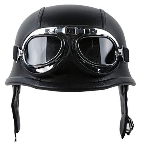 Leather Helmet Retro Style German Motorcycle Open Face Half Helmet for Motorcycle Biker Black Black ()