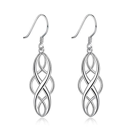 925 Sterling Silver Celtic Knot Dangle Earrings For Women, Good Luck Irish Celtic Vintage Earrings Dangling (Silver) 925 Silver Celtic Knot