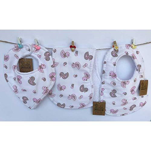 Baberos para bebés patos rosas conjunto de tres piezas ...