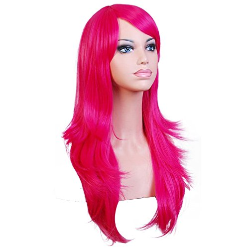 Natural Looking Long Wave Hair Wigs for Women with Bangs Sexy Cosplay Party Heat Resistant Synthetic Full Wigs (Hot Pink)]()