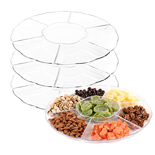 Impressive Creations Clear Round Plastic Serving Tray - (Pack of 3) - Heavyweight Disposable 6 Compartment Reusable Party Supply Tray- Durable and Reusable Party Supply Tray - Perfect Dinnerware ()
