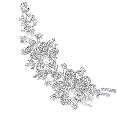 EVER FAITH® 6 Inch Flower Leaf Bowknot Hair Comb Clear Austrian Crystal
