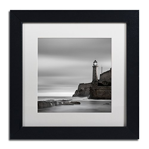 Morro Lighthouse by Moises Levy in White Matte and Black Framed Artwork, 11 by 11