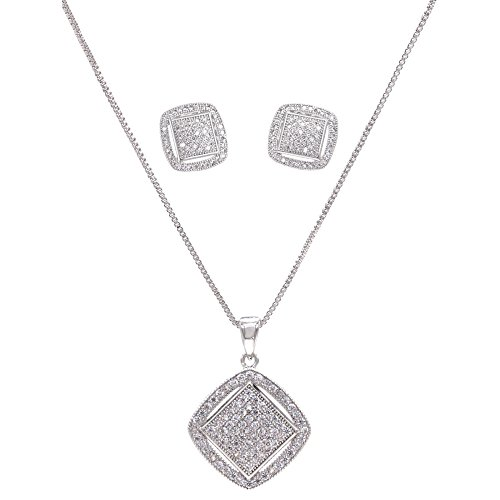 - Lavencious Square Shaped Jewelry Set Necklace & Earrings Trendy Micro Paved AAA Clear Cubic Zirconia for Women