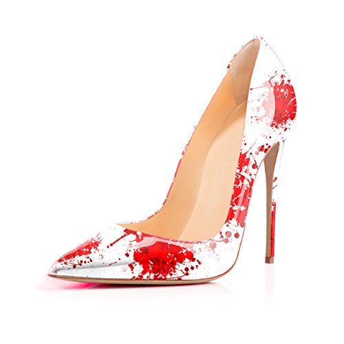 (Women's High Heels Pumps Red Blood Printing Slip on Shoes US 6)