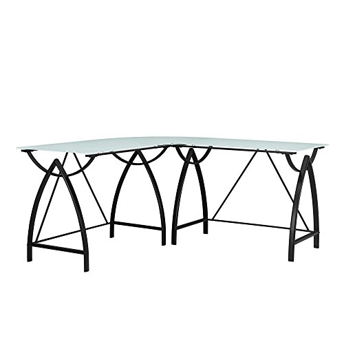 Altra Furniture 9822196COM Lacklan Glass Desk Altra Top L Black (Frosted Glass Top Table)