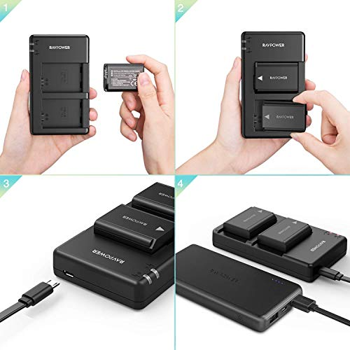 BESTON 2-Pack NP-FW50 Battery Packs and USB Fast Charger for Sony A7 A7II A7R A7RII A7S A7SII A5000 A5100 A6000 A6300 A6400 A6500 Camera