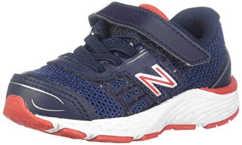 New Balance Boys' 680v5 Hook and Loop Running Shoe, Pigment/Velocity RED, 9 M US Toddler