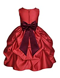Apple Red Satin Bubble Pick-Up Junior Flower Girl Dress Holiday Dresses 208T