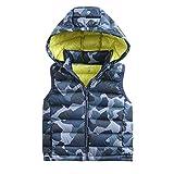 marc janie Little Boys Girls' Winter Hooded Ultra Light Weight Down Vest Blue Camo 4T (100 cm)