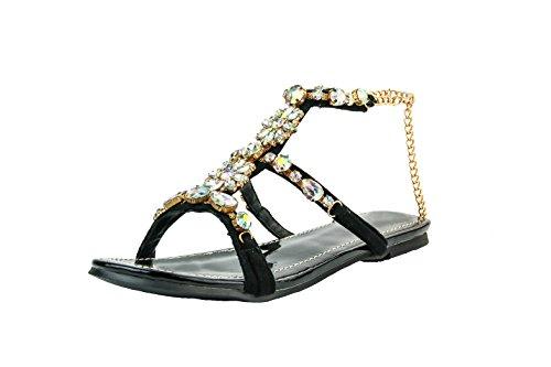 Chaîne Kolnoo en Chaussures Black main à BFCM la Femmes Sandales Flats strass Deco aEwOaxrq