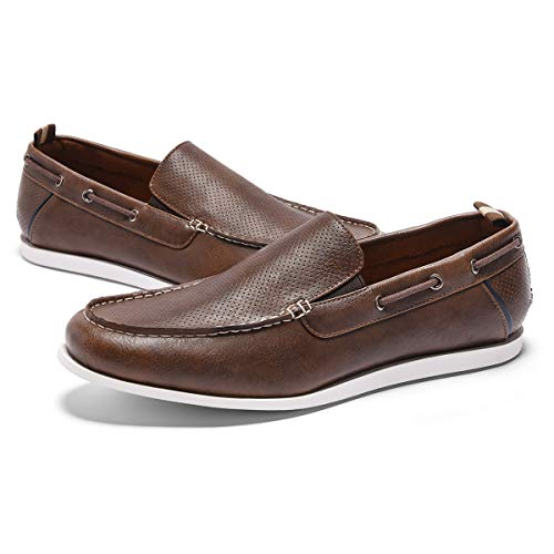 GM GOLAIMAN Men's Boat Shoes Slip On Classic Loafer Stylish Work Shoes Casual Walking Driving Shoes Brown - Boat Slip Non Shoes