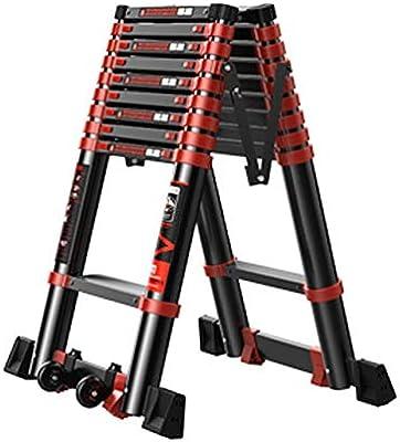 Escaleras telescópicas portátiles con ruedas, escalera de extensión profesional de aluminio plegable con plataforma de trabajo, carga de 330 libras (tamaño: 3,5 m): Amazon.es: Bricolaje y herramientas